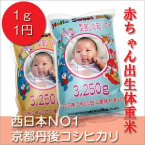 名入れ体感系コシヒカリ赤ちゃん抱っこ米