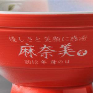 縁起のいい名入れ赤富士有田焼茶碗